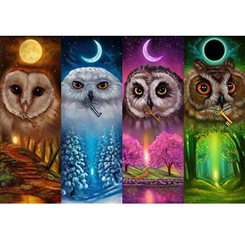 (DIY 5D Diamond Painting by Number Kits,Crystal Rhinestone Diamond Embroidery Paintings Pictures Arts Craft for Home Wall Decor,Four Seasons Owl,13.8x9.8in)