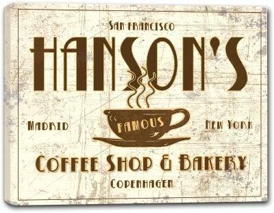 "HANSON'S Coffee Shop & Bakery Canvas Print 16"" x 20"""