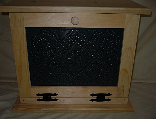 - Handcrafted Wooden Bread Box with Punched Tin Decorated Front Door