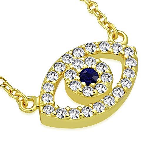 (925 Sterling Silver Yellow Gold-Tone Evil Eye Hamsa White Blue CZ Womens Pendant Necklace)