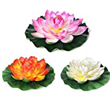 Sekluxy 3PCS Large Artificial Multicolor Floating Lotus, Home Garden Pond Aquarium Wedding Decoration 11.4'' Water Flower Lotus