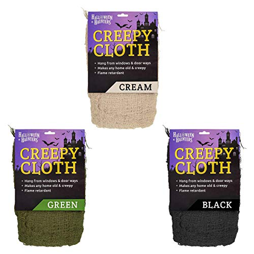 Halloween Haunters Black, Green and Cream Colored Freaky Creepy Cloth Fabric Party Prop Decor - 3 Packs, 30 Feet Total of Tattered Spooky Gauze - Hang Drape on Doorways, Entryways, -