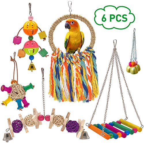 (MICOO 6pcs Parakeet Toys, Bird Perch for Conures, Parrot Chewing Toys for Cockatiels)