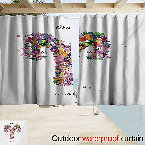 - AndyTours Exterior/Outside Curtains,Zodiac Aries Lively Butterflies and Blooming Flowers as an Astrology Symbol Spring Inspired,Rod Pocket Energy Efficient Thermal Insulated,W55x72L Inches,Multicolor