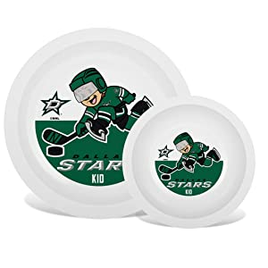 Baby Fanatic Nhl Legacy Infant Plate & Bowl Set, Dallas Stars, for Ages 6 Months & Up
