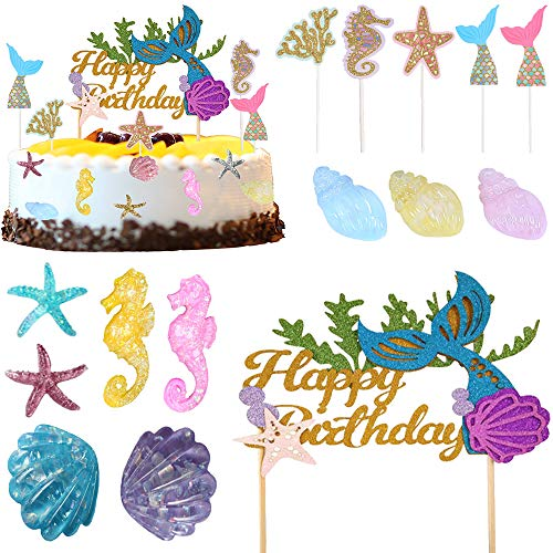 Mermaid Cake Topper, Party Cake Decoration for Birthday Party, Baby Shower, Wedding, Mermaid Cake Decorations