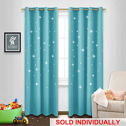 Star Cut Out Curtain Panel - NICETOWN 52 by 84 Inch Blackout Drape with Star Cutouts for Cosmic Themed Bedroom Window Treatment, Turquoise, One Pack Bedroom Window Treatments