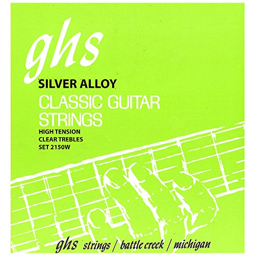GHS Strings 2150W Tie End Regular, Classical Guitar Strings, High Tension, Silver Copper Basses (Clear Silver Tie Acoustic Guitar)