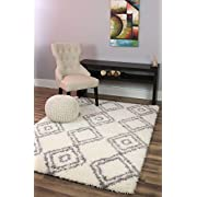 Soft & Plush Boho Diamond Shag Rug for Bedroom | Living Room | Dining Room 5' x 7', White & Grey