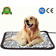 Pet Heating Pad, for Dog Cat Electric Heated Pad Indoor Waterproof Adjustable Warming Heat Mat with Chew Resistant Steel Cord