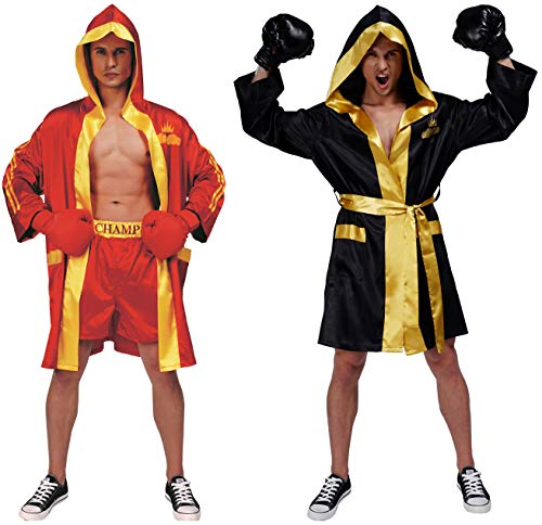 Adult Men Boxing Costume Heavyweight World Champion Boxer Includes Robe and Shorts (Red) (Knockout Robe)