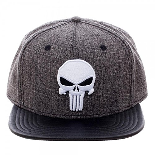 Marvel Comics The Punisher Skull Logo Embroidered Snapback Hat BioWorld SB43M2MVU