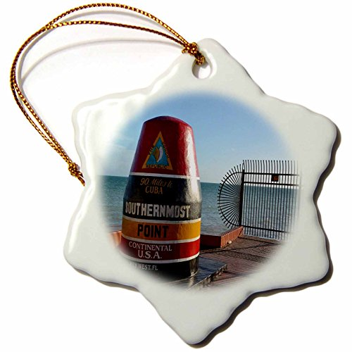 - 3dRose Florida - Image of Famous Key West Landmark - 3 inch Snowflake Porcelain Ornament (orn_255537_1)
