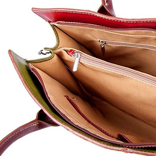 MICHELANGELO Fatto a mano in Vera Pelle Italia - Borsa Shopper Italy in Pelle 40x11 H30 cm (ITALY) Salida Extremadamente ekRJJR