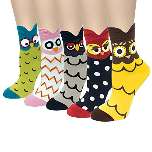 Wrapables Novelty Animal Print Crew Socks (Set of 5), Colorful ()