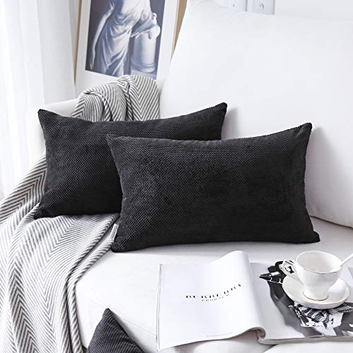 NATUS WEAVER 2 Pack Waffle Velvet Corduroy Oblong Decorative Throw Pillowcase Check Cushion Cover for Lumbar, 12 x 20 Inch, Black ()