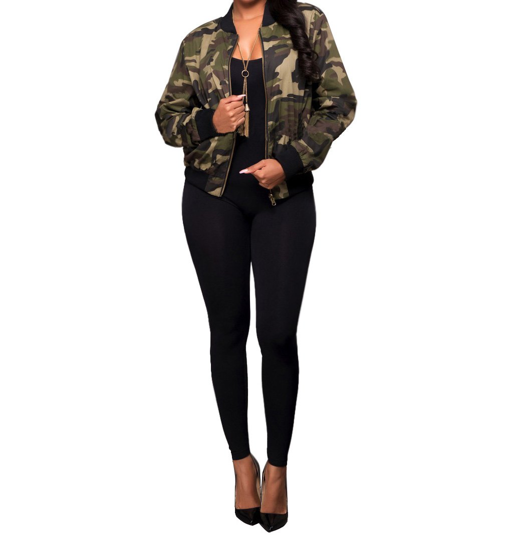 Sexycherry Faddish Military Casual Camouflage Lightweight Thin Short Jacket Coat For Women,Camouflage,Large by sexycherry (Image #3)