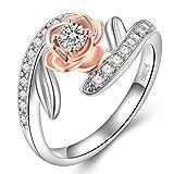 FENDINA Women's Vintage Love Rings Rolse Gold Plated Lotus Flower Two-tone Blossom Leaf Promise Eternity Ring (9)