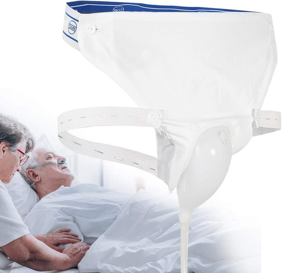 Silicone Urine Collector with 2 Urine Catheter Bags, 3 Type Optional for Man Woman Elderly (Elderly Men Type)