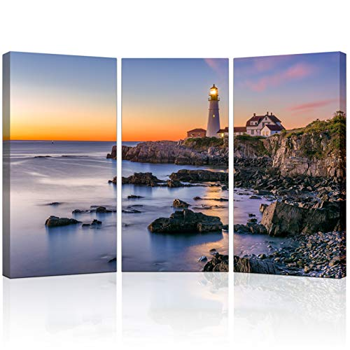 KLVOS 3 Piece Lighthouse Wall Art Portland Head Light at Sunset LED Lighted Seascape Canvas Print for Office Living Room Modern Home Wall Decoration Stretched Gallery Wrap Ready to Hang 16