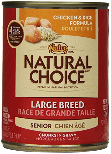 Natural Choice Dog Large Breed Chicken And Rice Dinner Chunks In Gravy Senior Dog Food Cans, 12-1/2-Ounce, 12 Pack Cans