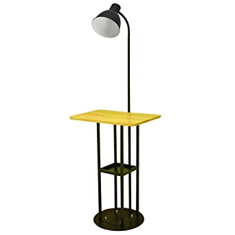 NNIU- Lámpara de pie, moderna con mesa de madera Lámpara de mesa ...