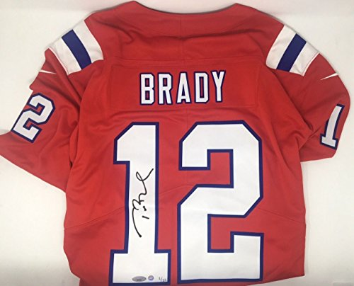 TOM BRADY Signed Patriots Nike Elite Vapor Red Throwback Jersey STEINER LE 12