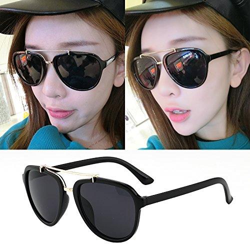 korean yeux nouvelles lunettes tide femme élégante personnalité visage rond les lunettes de soleil autour de lady star des modèles- cadre gris noir Ilnvolo7l