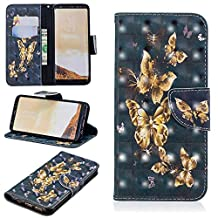 for Samsung Galaxy S8 Wallet Case and Screen Protector,QFFUN Glitter 3D Pattern Design [Gold Butterfly] Magnetic Closure Leather Phone Case with Card Holder Stand Function Shockproof Drop Protection Etui Shell Bumper Protective Flip Cover