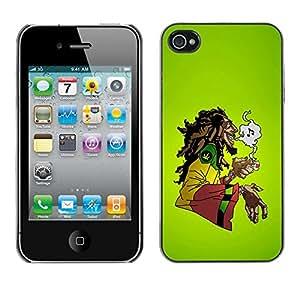 TECHCASE**Cubierta de la caja de protección la piel dura para el ** Apple iPhone 4 / 4S ** Cannabis Weed Hemp Jamaica Bob Music