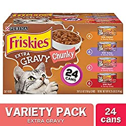 Give your cat one more reason to lick her whiskers at mealtime when she tastes the extra gravy found in each can of this Purina Friskies Extra Gravy Chunky wet cat food variety pack. Four mouthwatering recipes deliver the variety adventure-loving cat...