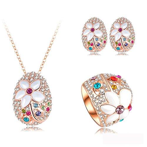 Women`s White Enamel Flower Cloisonne Stud Earrings and Pendant Necklace Jewelry Set for Women Austrian Crystal Size 7