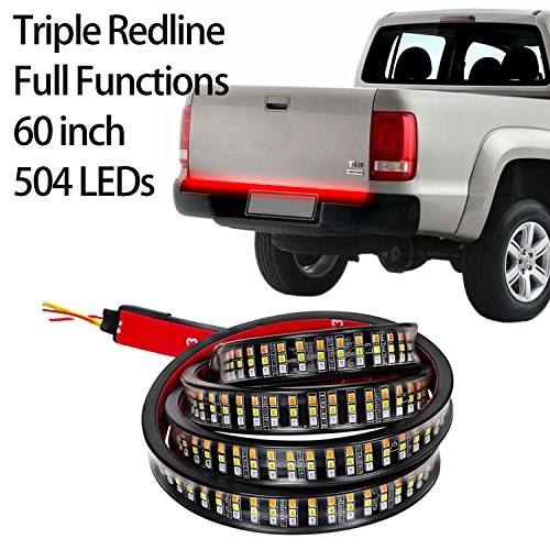 LED Tailgate Light Bar, Moso LED Flexible 60'' Triple Row LED Light Strip Tailgate Bed Light Waterproof Tail Lights - Reverse Brake Turn Signal Running Light for Pick up Trucks, (60' Led Tailgate Bar)