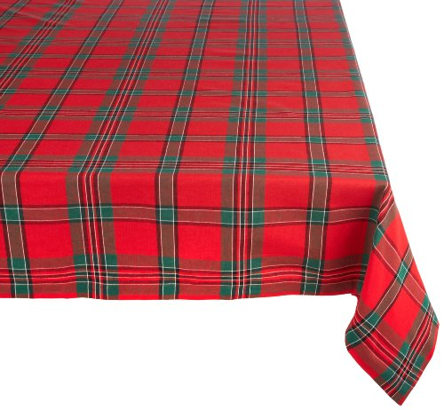 Red Plaid Square Tablecloth, 100% Cotton with 1/2 Hem (60x104 - Seats 8 to 10)