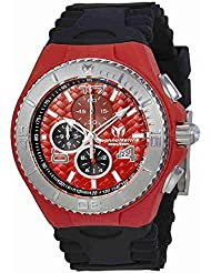 Technomarine Tm-115113 Mens Cruise Jellyfish Chronograph Black Silicone Red Dial Watch