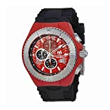 Technomarine Tm-115113 Men's Cruise Jellyfish Chronograph Black Silicone Red Dial Watch