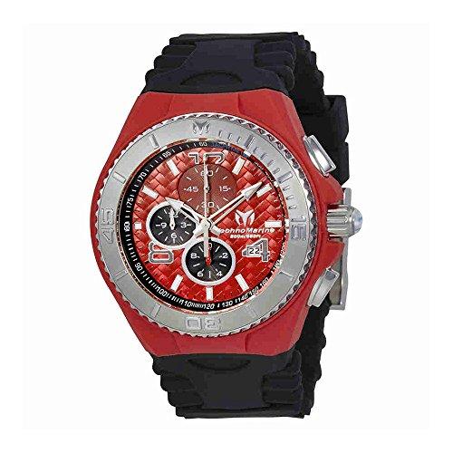Technomarine Tm-115113 Men's Cruise Jellyfish Chronograph Black Silicone Red Dial Watch (Chronograph Watch Cruise)
