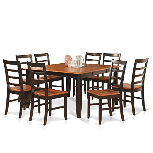 East West Furniture PARF9-BLK-W 9-Piece Dining Table (Square Table Seats 8)