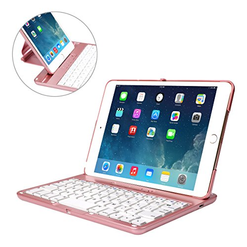 Cstorm iPad mini 3 Bluetooth Wireless Keyboard Case Ultra Thin Auto Sleep Wake up 360 Rotatable Stand Silent Typing Smart Folio Protective Dust-proof Cover for ipad mini 1 2 Rose Gold