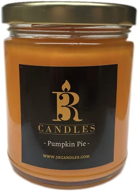3R Candles Pumpkin Pie Spice Scented Candle Soy/Paraffin Wax Glass jar - Fall Home Decor Gifts for Holiday & Christmas Season - Essential Autumn Gift Ideas - with Cinnamon & Sweet Vanilla