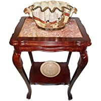 Marble Top Mahogany End Table With Shelf and Cabrio Leg