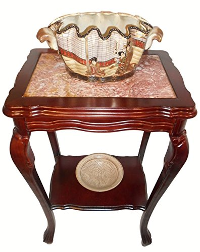 Hand Carved Marble Top - Oriental Furnishings Marble Top Mahogany End Table with Shelf and Cabrio Leg