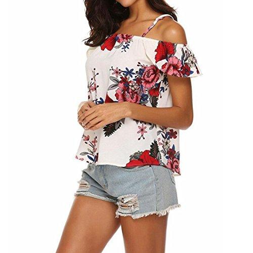 scoperte chiffon Tracolla donna camicetta in stampa floreale da estiva White Top con con spalle 1wafqpZ