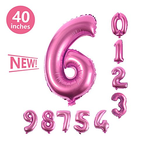 Number Balloons, Toufftek 40 Inch Number 6 Pink Foil Funny Number Balloons for Birthday Party Baby Shower Wedding Anniversary Halloween -