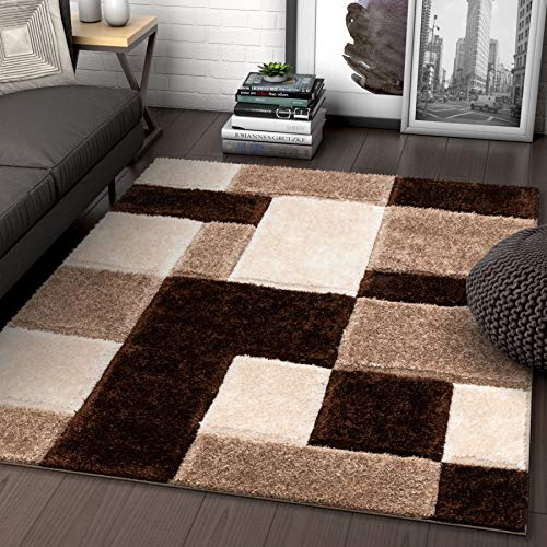 Well Woven Ella Brown Geometric Boxes Thick Soft Plush 3D Textured Shag Area Rug 8x10 (7'10