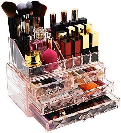透明な防水化粧品収納ボックスジュエリーや化粧箱付きブラシホルダダイヤモンドパターン収納ディスプレイキューブ