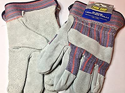 Blue Suede Cowhide Leather And Denim Large Work Gloves-Firm Grip-5023-72