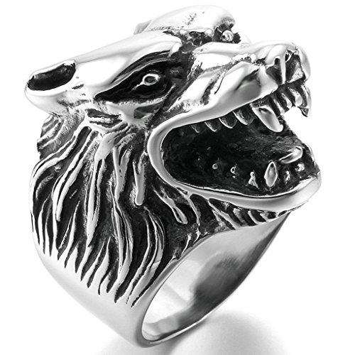 Aooaz Stainless Steel Ring For Men Punk Wolf Head Silver Black Polished Retro Wedding Band Punk Biker - Oval Opal Rug Antique
