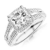 Image of 1.8 Cttw 14K White Gold Princess Cut Split Shank Double Row Princess And Halo Pave Set Diamond Engagement Ring with a 1 Carat H-I Color VS1-VS2 Clarity Center