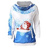 NUWFOR Women's Pattern Christmas Santa Claus Snowman Snowflake Pullover Hooded Sweaters Jumpers Pocket(Blue,XL)